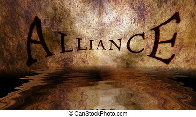 Alliance grunge concept reflecting in water