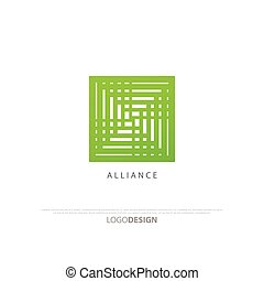 alliance - minimalist square icon. vector logo design,...