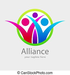 Alliance - Vector Abstract colorful people symbols for...