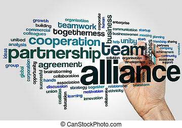 Alliance word cloud concept on grey background