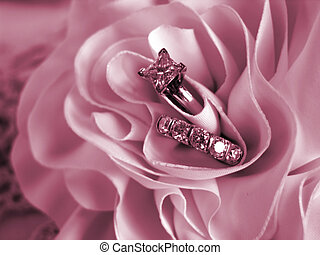 alliances, doux, humeur, rose