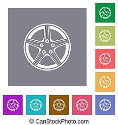 alliez roue, carrée, plat, icônes