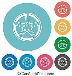 alliez roue, rond, plat, icônes