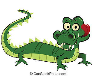 A funny, goofy looking cartoon alligator with tongue sticking out.