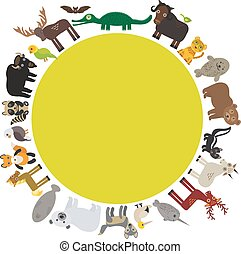 alligator., alce, selo, montanha, cavalo, raposa, gannet, animal, bisonte, cabra, parakeet, polar, quadro, urso, peixe boi, muskox, pele, morcego, onça pintada, pardo, vetorial, lobo, guaxinim, águia, gambá, redondo, narwhal