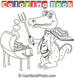 alligator, barbecue, kleurend boek