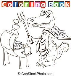alligator, barbecue, kleurend boek