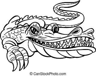 Alligator character isolated on a white background.