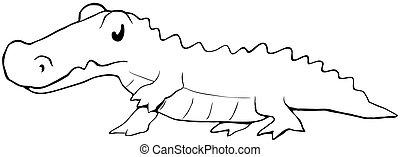 Alligator Cartoon Line Drawing