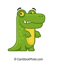 Alligator. Cartoon Style Funny Animal on White Background. Vector