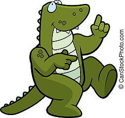 A happy cartoon alligator dancing and smiling.