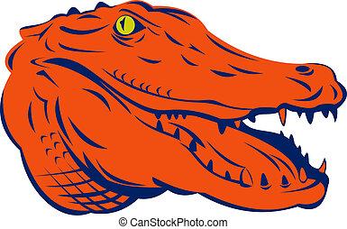 Alligator head - Illustration of an orange alligator head...