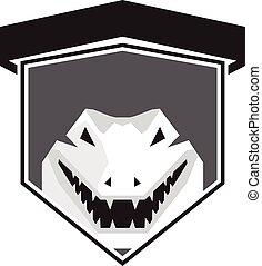 Alligator Head Shield Black and White