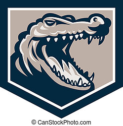 Alligator Head Snout Retro - Illustration of an angry...