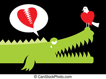 Alligator in love vector
