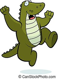A happy cartoon alligator jumping and smiling.