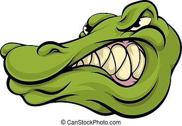 alligator, krokodil, oder, maskottchen