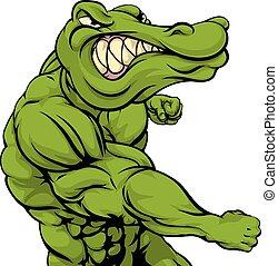 alligator, krokodil, of, vecht, mascotte