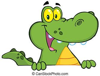 alligator, krokodille, hen, eller, tegn