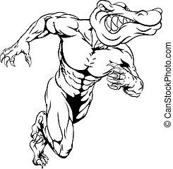 Alligator or crocodile mascot running