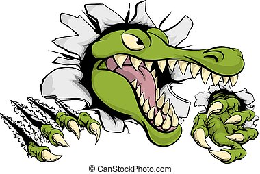 Alligator or crocodile smashing through wall - Illustration...