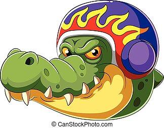alligator, porter, coureur, casque