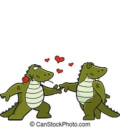 Two cartoon alligators in love with each other.
