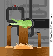 Alligator sewerage. Crocodile in sewer. Predator animal. City legend. Vector illustration