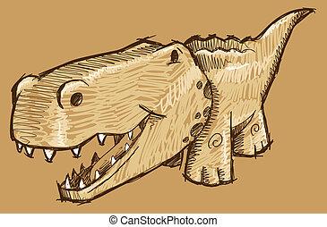 Alligator Sketch Doodle Vector Art