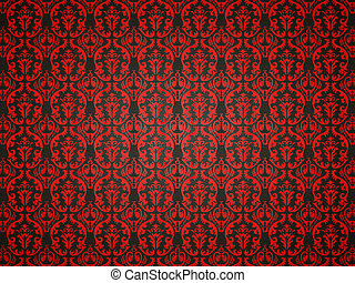 Alligator skin background with red victorian ornament