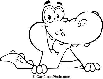 alligator, skitseret