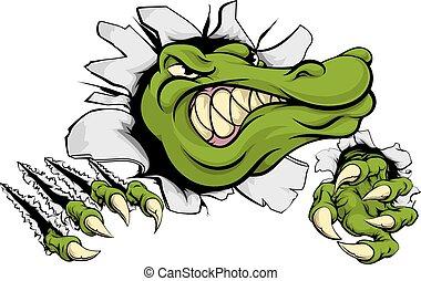 alligator, smadre, krokodille, igennem, eller, mur