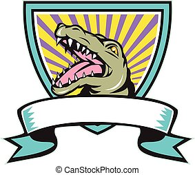 Alligator Snapping Crest Retro - Illustration of an angry...