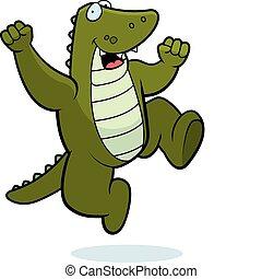 alligator, springe
