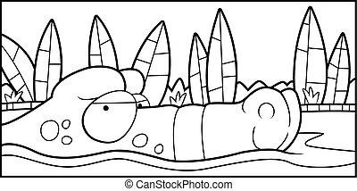 Alligator Swamp - A cartoon alligator floating in the swamp.