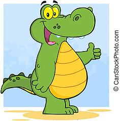 alligator, viser, tommelfingre oppe