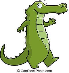 A happy cartoon alligator walking and smiling.