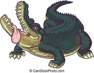 alligatore, affamato, cartone animato