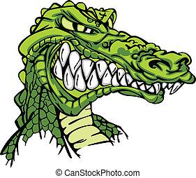 alligatore, mascotte, vettore, cartone animato