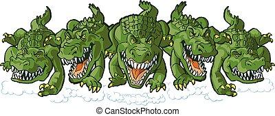 alligatore, media, gruppo, mascotti