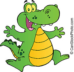 alligatore, saltare, felice