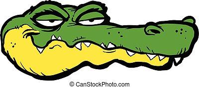 alligatore, vettore, cartone animato