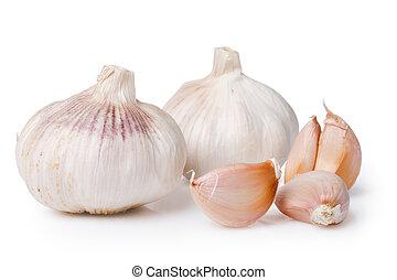 (allium, fondo, sativum), bianco, sopra, garlics