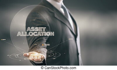 allocation, ビジネスマン, 概念, 資産, ホログラム