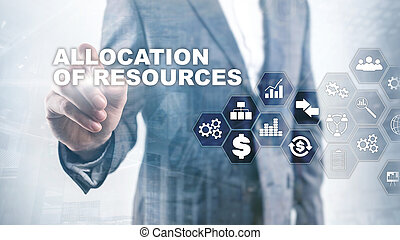 allocation, 의, 자원, concept., 전략의, planning., 여러 잡다한 인간으로 이루어진, media., 떼어내다, 사업, 배경., 재정, 기술과 통신, 개념