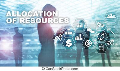 allocation, 의, 자원, concept., 전략의, planning., 여러 잡다한 인간으로 이루어진, media., 떼어내다, 사업, 배경., 재정, 기술과 통신, concept.