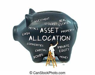 allocation, aanwinst, bank, piggy