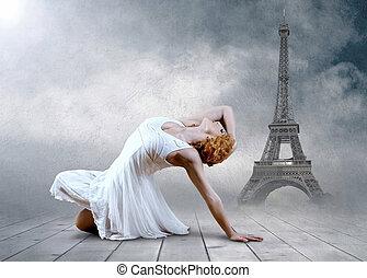 allocation places, femme, eifel, danseur, poser, fond, tour