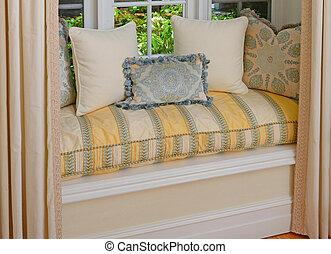 allocation places, siège, décoratif, fenêtre baie, secteur, coussins, oreillers