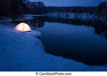alloggio, freddo, inverno, lago
